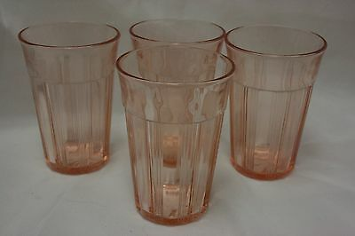 Pink Depression Glass Tumblers, Ribbed, Optic Panel, (4), 8 oz.