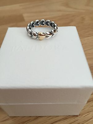 Pandora Sterling Silver  & Gold Large Heart Ring Size 52