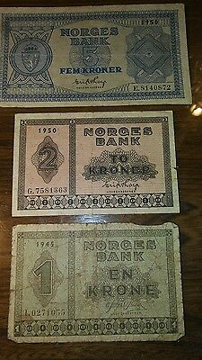 Banknotes Norges bank Norway 1945 1950