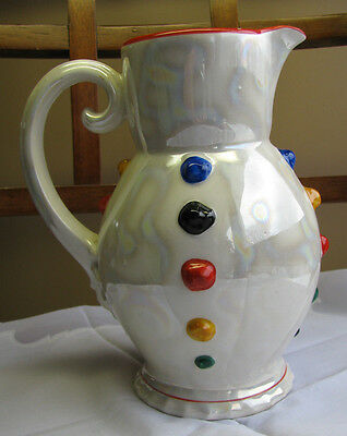 "Czech Pottery Hand Painted Pitcher Pearlescent Luster Swirl w/ ""Buttons"" 7"" VTG"