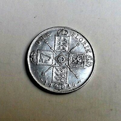 George V 1916 Two-Shilling/florin Very Nice Condition Nice Rare Coin