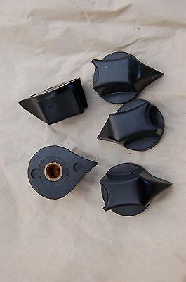 VINTAGE (1960s) BLACK BAKELITE KNOBS