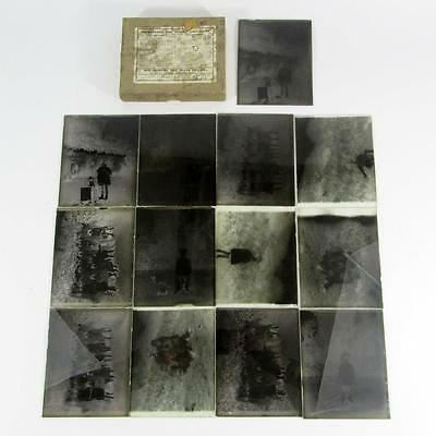 Box of 13 Antique Glass Dry Plate Photo Negatives - Group Photos/Child Portraits