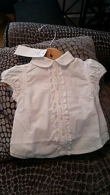 BNWT Ralph Lauren Baby Girl White Solid Frill Oxford Shirt Age 9 Months