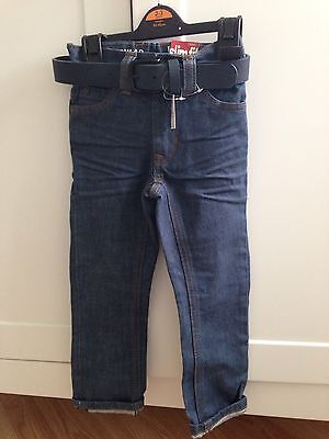 Next Boys Toddler Jeans With Adjustable Waist & Belt Slim Fit Regular Age 3 Year