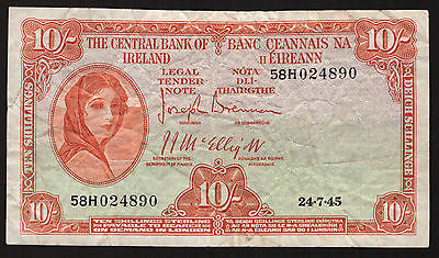 Ireland Central Bank of Ireland 10 Shillings 1945. About Very Fine