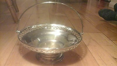 Antique Silver Plated Large Fruit Bowl Swing Handle Martin Hall & Co 1854-1897