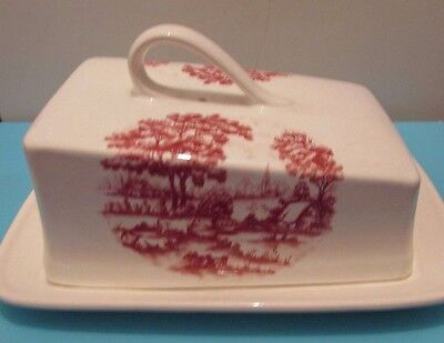 Sylvac Ceramics Vintage Cheese Dish, Decorated With Pastoral/country Scenes Vgc