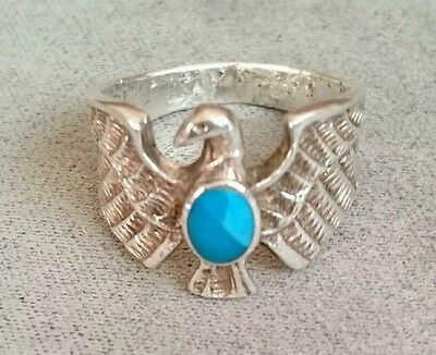 Sterling Silver 925 Eagle Turquoise Ring NATIVE AMERICAN / SOUTHWESTERN Style