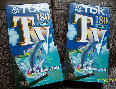 TDK 180 3hour blank VHS tapes x2. New in sealed original packaging