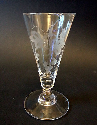 ANTIQUE 18TH CENTURY GEORGE III ENGRAVED HOPS & BARLEY DWARF ALE GLASS c1760