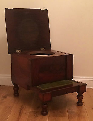 Antique Victorian Georgian Mahogany Bed Steps Concealed Commode Chamber Pot