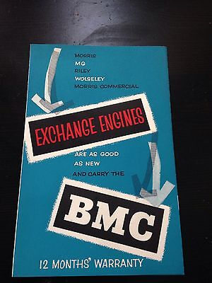 Rare BMC Exchange Engines Brochure, MG A, Morris Minor, Oxford etc