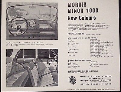BMC Morris Minor 1000, Standard, Deluxe, Traveller & Convertible New Colours