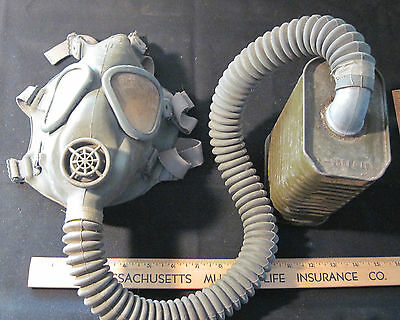 Vintage WWII Army Canister Gas Mask Bag Hose Can Mustard Poison Gas