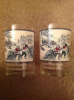 set of 2 Currier and Ives glasses/tumblers Arby's Christmas snow children tree