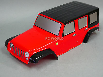 RC Truck Body Shell 1/10  Crawler JEEP WRANGLER RUBICON  Jeep PAINTED Red
