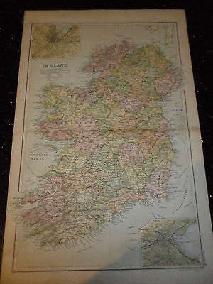 Edwardian Map of Ireland From Bacon's General Atlas Of The World - 1910