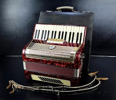 VINTAGE TOP PIANO ACCORDION WELTMEISTER 48 bass, 5 sw.+HARD CASE~1001accordions~