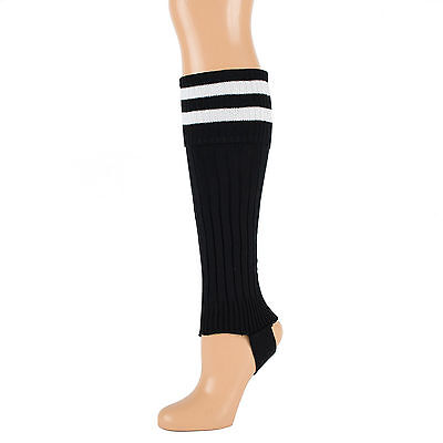 NEW black ribbed stirrup leg warmers with white stripes one size