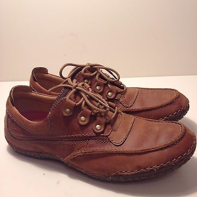 Mens Brown Leather Laces Clarks Flexlight Casual Shoes Size UK 7 Excell.Cond.