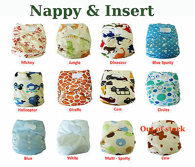 Packs of All-In-One Reusable Washable Pocket Cloth Nappies with Inserts Included