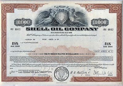 $10,000 Shell Oil Company Bond Stock Certificate Gas Royal Dutch