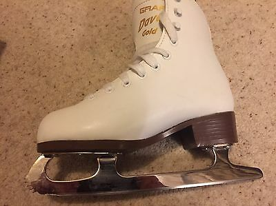 Girls Graf Davos Gold Ice Skates Size 12.5 - perfect condition