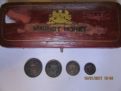 1902 Silver Maundy Set With Box - Edward VII - 4d, 3d, 2d and 1d with Maundy Box