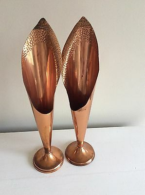 Pair Of Beautiful Tall Copper Vases