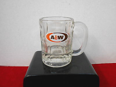 """A & W Root Beer Set Of Two 4 1/2"""" High Heavy Clear Glass Mug With Logo"""