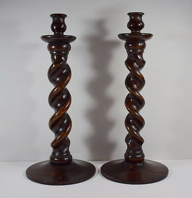 A Pair Of Large Antique Barley Twist Candlesticks 15 Inches