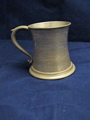 Antique Hand Beaten Hammered Pewter Large Tankard Beer Old Sheffield