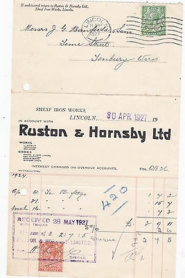 Ruston & Hornsby Grantham Vintage Agricultural Billhead Old Bill Lincoln