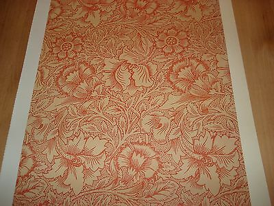 WILLIAM MORRIS PINK AND POPPY WALLPAPER PRINT/PLATE taken from Original of 1881