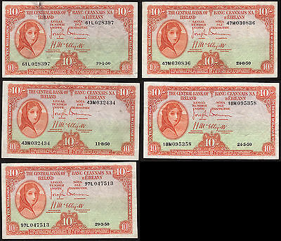Ireland Central Bank of Ireland 10 Shillings 1950. 5 notes. Generally Very Fine
