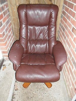 Brown Leather Effect Swivel Recliner Chair