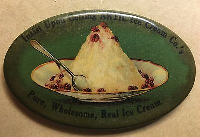 """Antique Celluloid """"Scarce"""" 1900's Advertising Pocket Mirror for ARTIC ICE CREAM"""