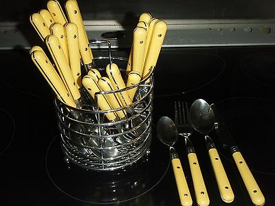 Viners yellow cutlery x 4  with storage basket