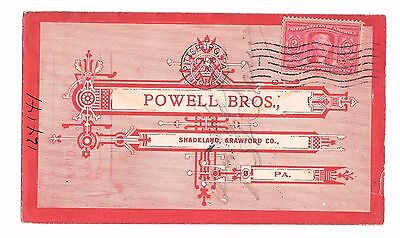 1904 US Ad Cover Printed Upside Down! Powell Bros., Shadeland, PA (1850-1917)