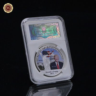 WR US Trump commemorative coin Silver metal coin values Security display frame
