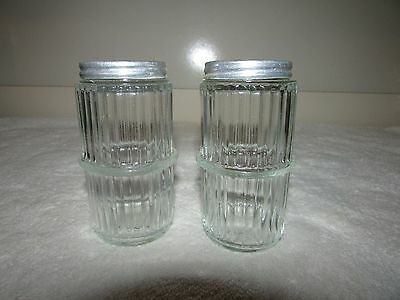 Set of 2 Vintage HOOSIER SHAKERS Ribbed Glass With Lids