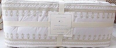 Pottery Barn Kids Adrienne Gold Embroidered Crib Bumper, Brand New