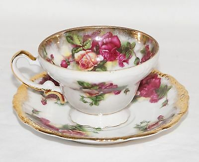 Royal Sealy Vintage Antique China Lusterware Tea Cup & Saucer Japan Roses Gold