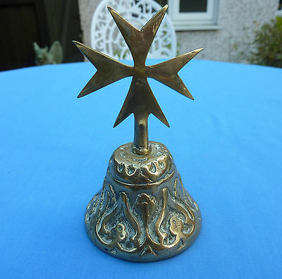 Vintage Brass Malta Maltese Cross Hand Held Porter Reception Bell Christmas Gift