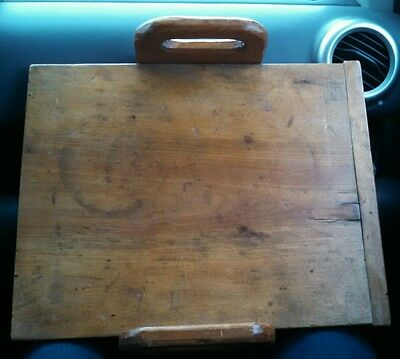 Early Primitive Antique Wood Cutting Board Hand Carved - square nails