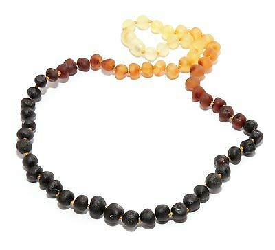 Genuine Raw Baltic Amber Beads Necklace for Adult Rainbow 45 cm