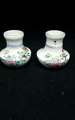 Chinese Famille Verte Small Jar Vase Lot Impressed Mark