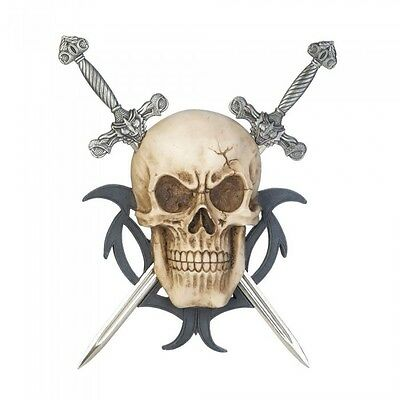 Fantastical Skull Two Silvery Swords Wall Plaque Medieval Flair Home Decor Black