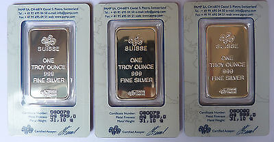3 Serial Numbered PAMP Suisse Lady Fortuna 1 oz SILVER BAR each